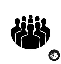 Crowd of people black silhouette icon social vector