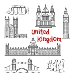 British and chilean travel landmarks sketches vector