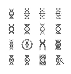 DNA spiral black icons set for chemistry or vector image
