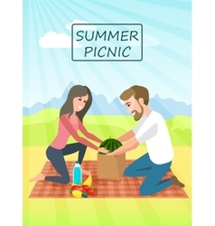 Picnic couple relaxing picnic on nature vacation vector