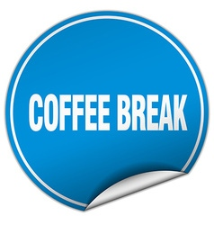 Coffee break round blue sticker isolated on white vector