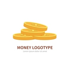 Flat logo stack of coins isolated on white vector