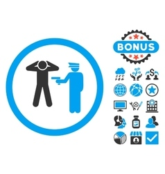 Arrest Flat Icon with Bonus vector image vector image
