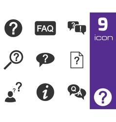 black FAQ icons set vector image vector image