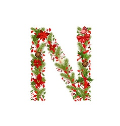 Christmas floral tree letter n vector