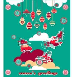 Christmas greeting scrap elements set vector
