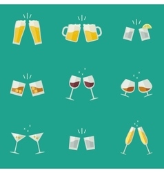 Clink glasses icons vector image vector image