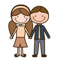 Color silhouette cartoon brown boy hair and girl vector