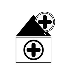 Contour house blood dotaion with cross symbol vector