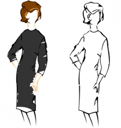 cute girl vintage fashion sketches vector image vector image
