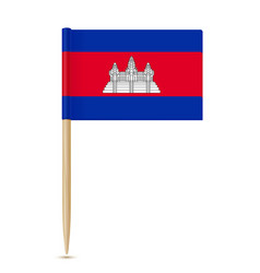 Flag of cambodia flag toothpick on white vector