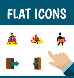 Flat icon door set of emergency entrance vector