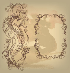Frame and ornate on old background vector