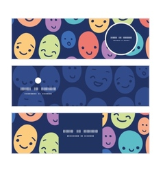 funny faces horizontal banners set pattern vector image
