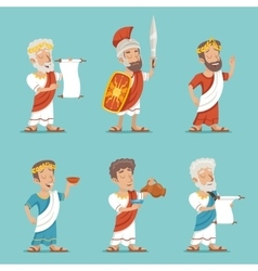 Greek Roman Retro Vintage Character Icon Set vector image vector image