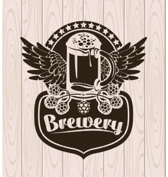 Label with a glass of beer vector