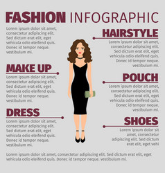 Lady in black dress fashion ifnographic vector