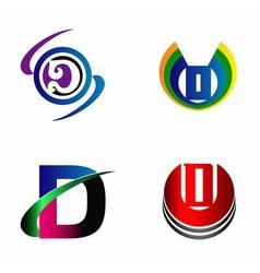 Letter D logo design sample icon set vector image vector image