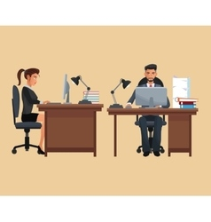 Man woman sitting place working desk vector