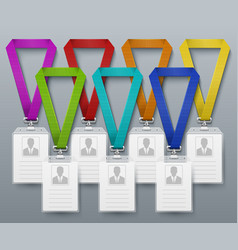 office id card badges color lanyards vector image