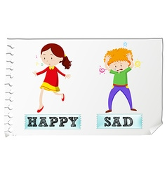 Opposite adjectives happy and sad vector image vector image