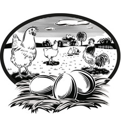 Oval frame with hens and nest with eggs vector