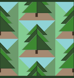 Seamless pattern with firs ground and sky vector