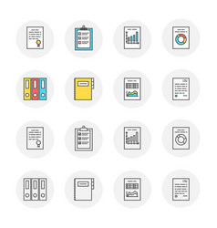 set of documents icons with outline and vector image vector image