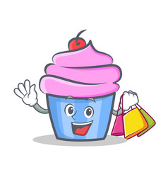 Shopping cupcake character cartoon style vector
