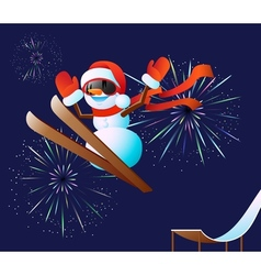 Snowman and fireworks vector image vector image