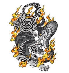 Tiger with cobra and fire tattoo graphic vector image vector image