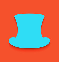 Top hat sign whitish icon on brick wall vector