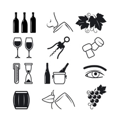 Wine black icons set vector image vector image