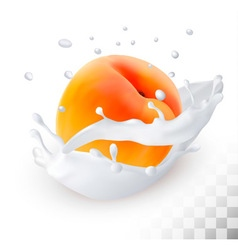 Peach in a milk splash on a transparent background vector image