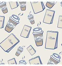 Takeaway coffee and paper packets vector