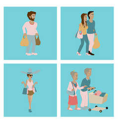 set of people shopping vector image