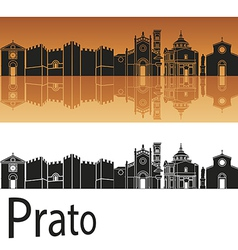 Prato skyline in orange background vector