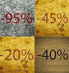 45 2040 icon set of percent discount on abstract vector