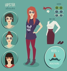 Hipster girl character with hipster elements vector