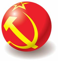 Ussr flag texture on ball vector