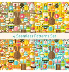 Four flat happy easter seamless patterns set vector