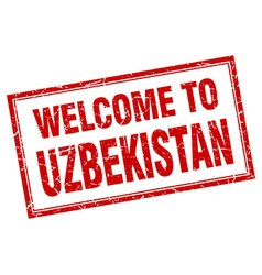 Uzbekistan red square grunge welcome isolated vector