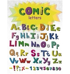 Alphabet in comic style colorful letters vector image vector image