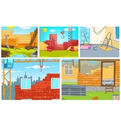 Cartoon set of backgrounds - construction sites vector image vector image