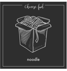 Chinese food chalk sketch noodles box for china vector