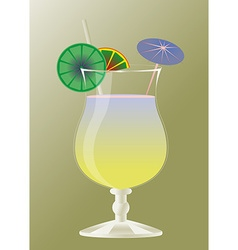 Cocktail glass with umbrellas and margarita drink vector