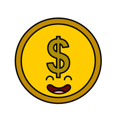 Coin money kawaii character vector