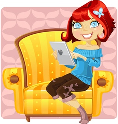 cute girl with a laptop vector image