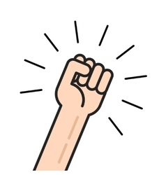Fist icon hand with shaking raised up vector
