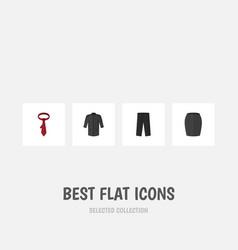 flat icon garment set of uniform pants cravat vector image vector image